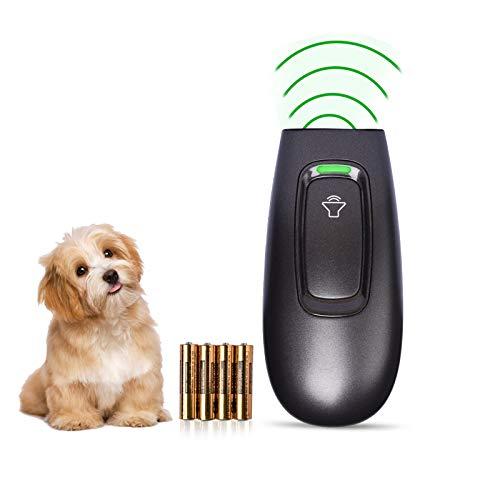 Transpet Anti ladridos por ultrasonido para perro, antiladrones de perro, portátil, con indicador LED, rango de control de 16 patas, herramienta de formación para perros en interior y exterior