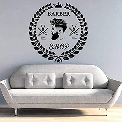Arte de pared Peluquería Hombre Salón Corte de pelo Barba Cara Herramientas Logotipo Salón Arte Pegatinas de pared Decoración de la habitación 42X42 Cm