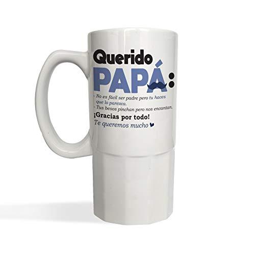 Jarra de Cerveza Querido Papá DIA DEL PADRE - Jarra cerámica o cristal glaseado 650 ml - Frase divertida Regalo Sorpresa DIA DEL PADRE o Cumpleaños (cristal glaseado)