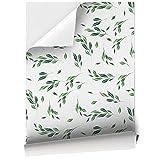 Vinilo Adhesivo para Muebles y Pared, 45 x 200 cm, Hojas de Primavera de Color Verde con Fondo Blanco, VNL-021