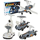 HahaGo Solar Robot Kit STEM Toys 4 in 1 Educational Building Toy DIY Science Experiment Kits Coding Robots Engineering Powered by The Sun for Kids Children Boys Girls Gifts (Black & White)