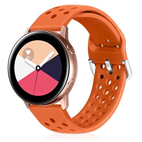 Runostrich Correa de silicona de cierre rápido, 20mm, compatible con Galaxy Watch 42mm / Active 2 44mm y 40mm, Pebble, Ticwatch, para hombres y mujeres (20mm), color naranja