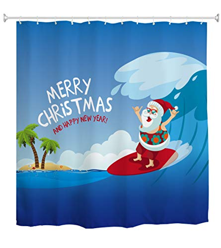 AO BLARE Christmas Shower Curtain, Merry Christmas Cartoon Santa Claus Surfing Wave While Shaka Gestures Waterproof Polyester Fabric Shower Curtain with Hooks 72X72 Inches