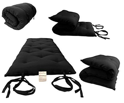 "D&D Futon Furniture Full Size Black Traditional Japanese Floor Futon Mattresses, Foldable Cushion Mats, Yoga, Meditaion 54"" Wide X 80"" Long 3"" Thick"