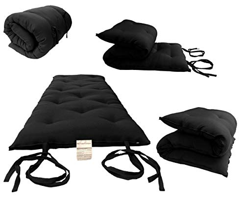 D&D Futon Furniture Full Size Black Traditional Japanese Floor Futon Mattresses, Foldable Cushion Mats, Yoga,...