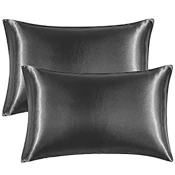 EHEYCIGA Satin Pillowcase for Hair and Skin Silk Pillowcase Set of 2 Dark Grey Soft Pillow Cases 2 Pack Queen Size 20X30 Inches with Envelope Closure
