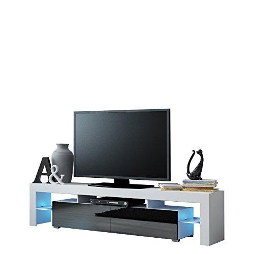 Mirjan24 TV Schrank Solo, Unterschrank mit LED, Fernsehschrank, TV Lowboard mit Grifflose Öffnen, Hochglanz Matt Wohnwand (mit Blauer LED Beleuchtung, Weiß Matt/Schwarz Hochglanz)