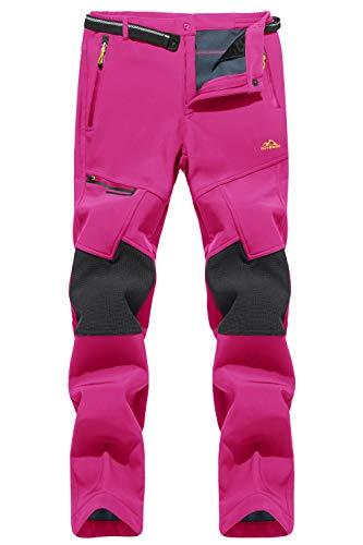 TACVASEN Women's Snow Pants Outdoor Water Repellent Fleece Hiking Pants, Rose red, 36