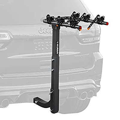 """IKURAM 3 Bike Rack Bicycle Carrier Racks Hitch Mount Double Foldable Rack for Cars, Trucks, SUV's and minivans with a 2"""" Hitch Receiver"""