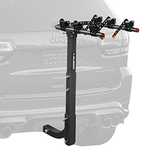IKURAM 3 Bike Rack Bicycle Carrier Racks Hitch Mount Double Foldable Rack for Cars, Trucks, SUV's and minivans with a 2