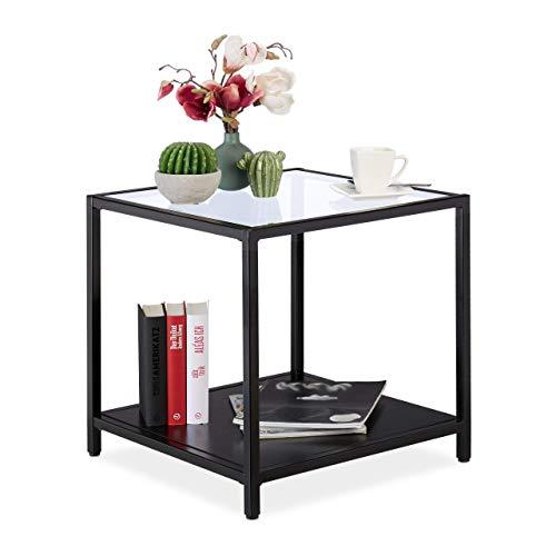 Relaxdays Beistelltisch, modernes Design, Wohnzimmer, Glas, Metall & MDF, 50x50x50 cm, quadratischer Couchtisch, schwarz, Metall, 50 x 50 x 50 cm