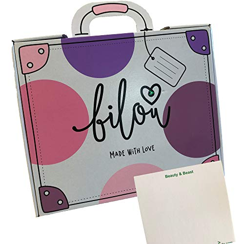 Bilou Koffer 2019 Geschenkset (Bubblegum Duschschaum, Sweet Popcorn Cremeschaum, Diamond Hands Handschaum, 2 Emaille Pins) + usy Block
