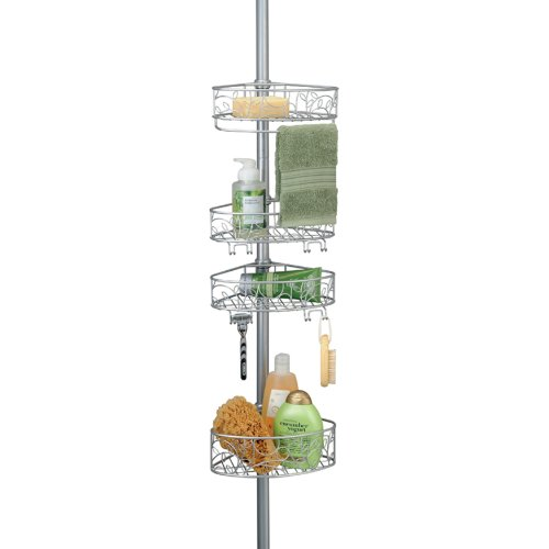 iDesign Twigz Metal Wire Tension Rod Corner Shower Caddy, Adjustable 5'-9' Pole and Baskets for Shampoo, Conditioner, Soap with Hooks for Razors, Towels, Adjustable from 5'-9', Silver,77686