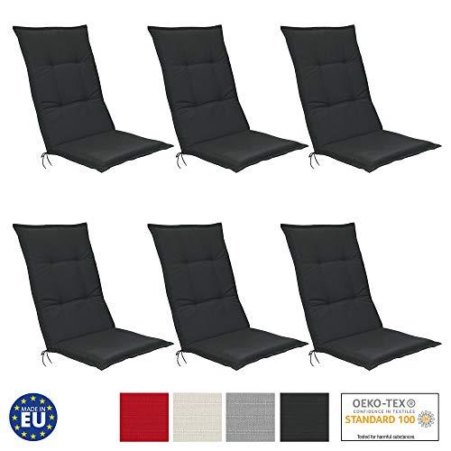 Beautissu 6er Set Hochlehner Auflagen Set Base HL 120x50x6cm Sitzkissen Rückenkissen Stuhlkissen für Gartenstühle Sitzpolster Graphit-Grau