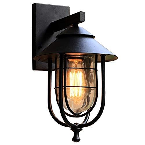Wandlamp - buiten waterdichte tuinlamp antiek tuin Lighting-1-Light binnen- / buitenwandlamp zwart met glazen kap