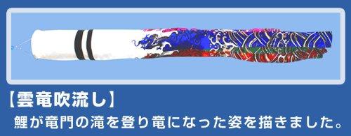 人形の伏見屋『庭園用鯉のぼりセット5m雲竜吹流しナイロンSky鯉のぼり8点セット(KUN-058)』