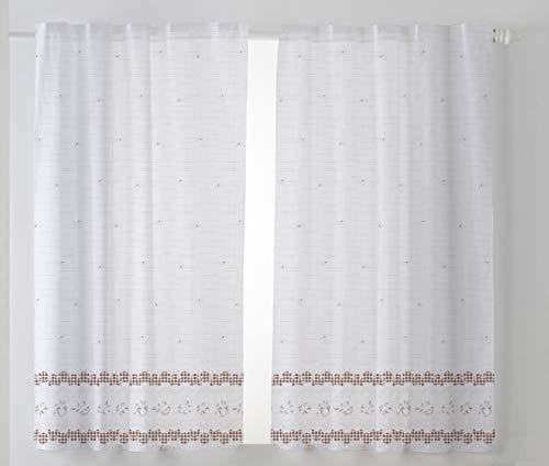 Cardenal Textil Tamara Cortina Cocina Visillo, Tela, Marrón, Pack 2 100 x 140 cm