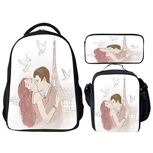 Colorful Romantic in School Backpack Set Bookbags 14' Laptop Backpack Kids Lunch Bag