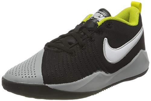 Nike Team Hustle Quick 2 Basketball Shoe, Black/White-Light Smoke Grey-High Voltage, 38 EU