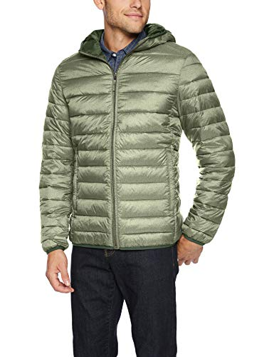 Amazon Essentials Men's Lightweight Water-Resistant Packable Hooded Puffer Jacket, Olive Heather, XX-Large