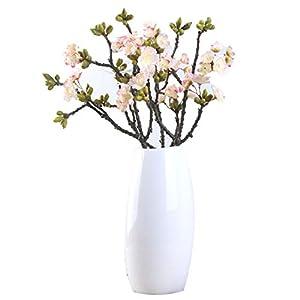 Tanshine 3 Pcs Artificial Cherry Blossoms Branches Silk Flowers Arrangements Bouquet Home Hotel Office Wedding Décor