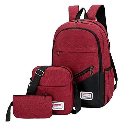FDQNDXF Business Laptop Backpack, Water Resistant School Rucksack Gifts for Men And Women Fashion Casual Laptop Backpack 3 Piece Suit Bag,Red