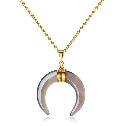 COAI Collana da Donna con Ciondolo Amuleto Doppio Corno Luna Crescente in Agata Grigia, Catena in Acciaio Inox Placcato Oro