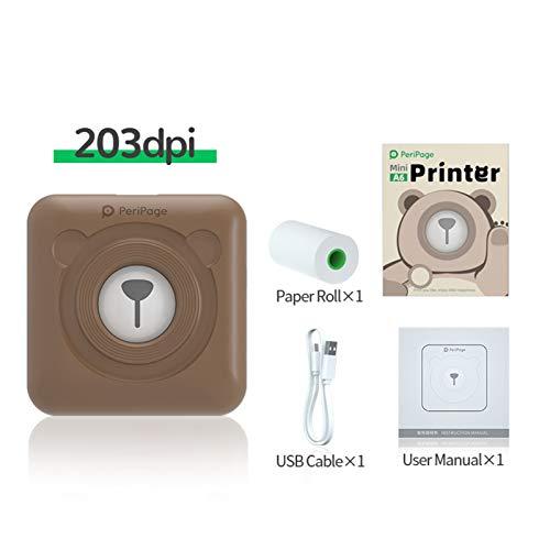 Aibecy PeriPage Mini Fotodrucker Wireless BT Thermodrucker Picture Label Memo Receipt Drucker mit USB-Kabel für Android iOS Smartphone Windows (Braun)