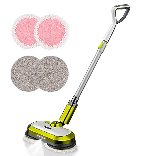 Cordless Electric Mop, Electric Spin Mop with LED Headlight and Water Spray, Up to 60 mins Powerful Floor Cleaner with 300ml Water Tank, Polisher for Hardwood, Tile Floors, Quiet Cleaning & Waxing