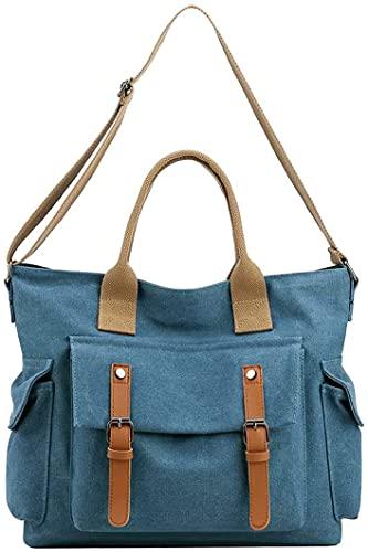 Nicebags Bolso de hombro para mujer, bolso de lona grande, retro, bolso de mensajero casual para mujer, adecuado para la oficina diaria y la escuela, Azul., 1X