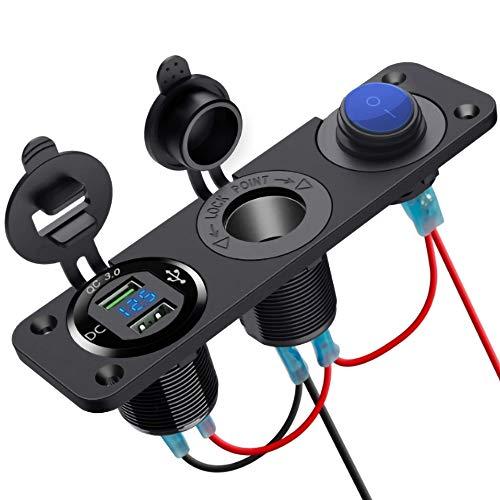 Cargador de coche con enchufe Panel de cargador de enchufe con dos puertos USB QC3.0,ranura para encendedor de cigarrillos de 12 V CC,botón de interruptor y pantalla de voltímetro LED a prueba de agua