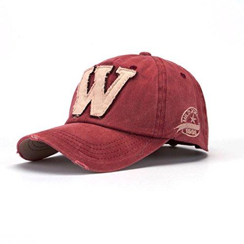 Cappellini con Visiera da baseball Hip-Hop Unisex, DoraMe Berretto mimetico da uomo e da donna estivi Le lettere W fanno il vecchio cappello (Rosso)