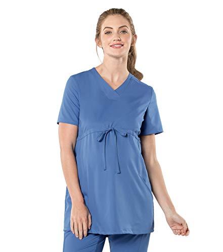 Urbane Women's V-Neck Maternity Scrub Top-Adjustable Empire Waist, Ceil, Medium