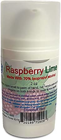Diva Stuff Hand Cream with 70 Isopropyl Alcohol Made in USA 2oz Bottle Raspberry Lime product image
