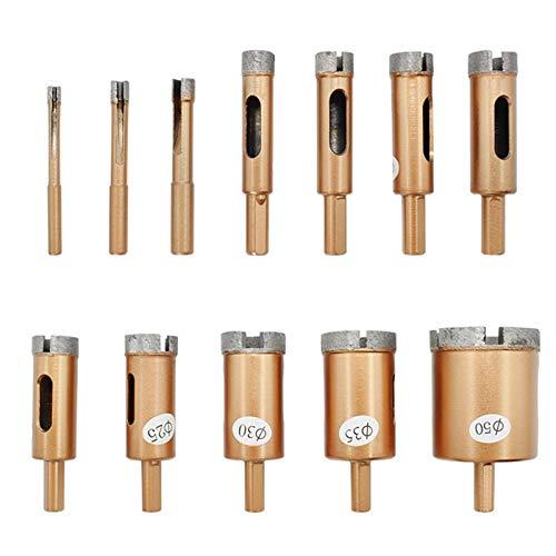 12 unids 16-50 mm Diamante Recubrido Bit Bit Said Set Set Tile Glass Hole Hole Cutter Drill Bits Power Herramientas de Piedra Herramientas (Color : 12pcs)