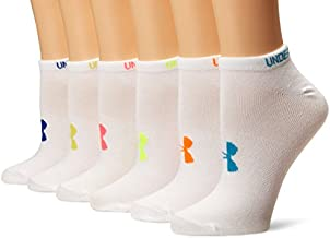 Under Armour Youth Essential No Show Socks, 6-Pairs , White/Assorted Colors , Small