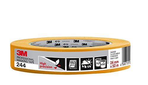 3M 244 Profi Malerband für scharfe Farbkanten, UV-beständig, innen und außen, 24 mm x 50 m