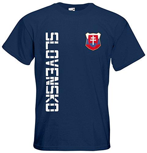 Slowakei Slovensko T-Shirt Trikot Basic EM-2021 Navyblau XL