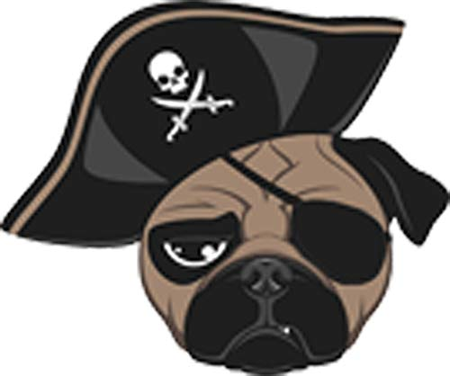 Cute Adorable Pug Puppy Dog Wearing Eyepatch and Pirate Hat Cartoon Vinyl Decal Sticker (2' Wide)