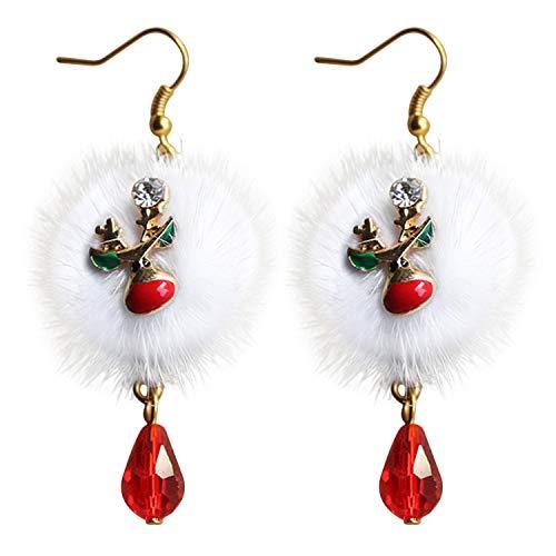 Fascigirl Boucles d'oreilles de Noël, Girls Cute Dangle Nouveauté Santa Reindeer Pom Pendentif Hoop Cadeaux de Noël pour Les Femmes