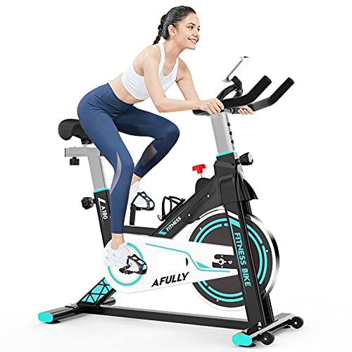 Afully Indoor Exercise Bikes Stationary, Fitness Bike Upright Cycling Belt Drive with Adjustable Resistance, LCD Monitor&Phone Holder Quiet for Home Cardio Workout (Be and Blue)