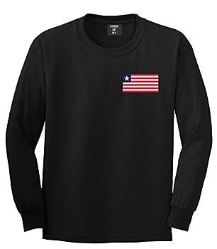 Liberia Flag Country Chest Long Sleeve T-Shirt XXX-Large Black