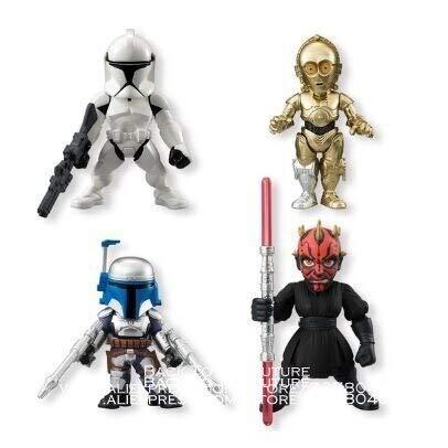 WXIAO HMMOZ Disney Star Wars 4pcs / Set Darth Vader Yoda R2-D2 6 cm Figura de acción Anime Decoration Collection Figurine Toys Modelo para niños Animado Figura (Color : Green as Shown)