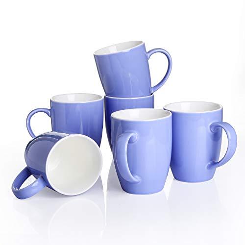 Panbado, Porzellan Kaffeepott 370 ml, 6 teilig Kaffeetassen, Becher Set, Blau + Weiß