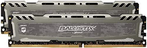 Crucial Ballistix Sport LT BLS2K8G4D240FSBK 2400 MHz, DDR4, DRAM, Memoria Gamer Kit para ordenadores de sobremesa, 16 GB (8 GB x 2), CL16 (Gris)