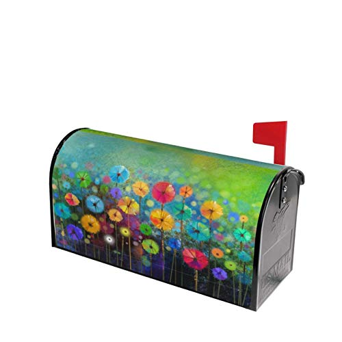 Deaowangluo Nature Spring Summer Autumn Winter Flowers Mailbox Covers Standard Size Floral Watercolor Rainbow Dandelion Poppy Magnetic Mail Cover Letter Post Box 21' Lx 18' W