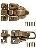 FUXXER® - 2 cierres para baúles, cajas, maletas, herrajes de metal, diseño vintage de latón, juego de 2 con tornillos, 59 mm x 40 mm.