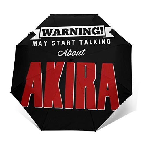 Warning May Start Talking About Akira Winddichter Kompakter Automatischer Faltschirm, automatischer Faltbarer Reise-Sonnenschirm