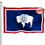 DFLIVE Double Sided Wyoming State Flag 3x5ft Heavy Duty Polyester 3 Ply WY State Flags Indoor and Outdoor Use