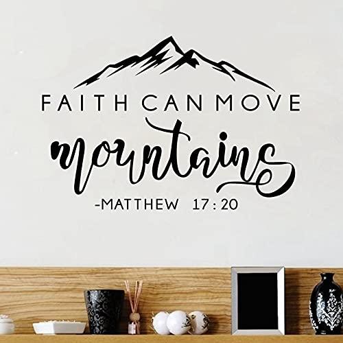 Faith Can Move Mountains Biblia verso vinilo pared pegatina decoración de pared cristiana para el hogar coche portátil arte calcomanías dormitorio pared calcomanía A2 42x30cm